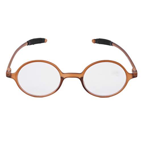 Koehope leesbril lichte TR90 ronde bril Resin Presbyopia anti-blauw licht oogglas +1,0~4,0 +3.5 donkerbruin