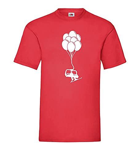 Shirt84.de - Camiseta para hombre con diseño de Sessellift con esquiador en globos, rojo, XXL