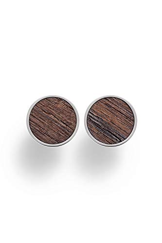 KERBHOLZ Holzschmuck – Geometrics Collection Circle Earring, Damen Ohrring rund, kleine Ohrstecker mit Kreis aus Naturholz, silber, Ø 8mm