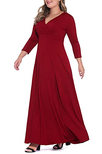 POSESHE Women's Solid V-Neck 3/4 Sleeve Plus Size Evening Party Maxi Dress Wine Red 4X-Large