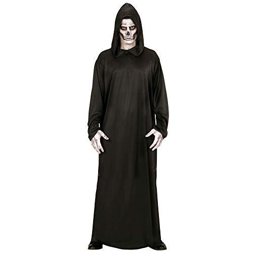 Widmann 00014 - Erwachsenenkostüm Sensenmann, Robe mit Kapuze, Größe XL, schwarz