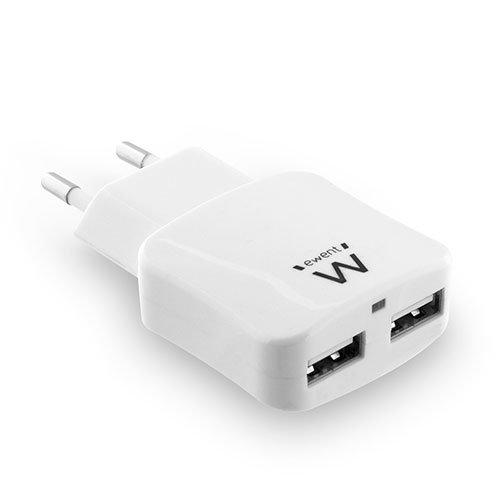 Ewent EW1302 Caricabatterie USB da Muro a 2 porte per Samsung Galaxy S8 / Note 8, iPhone X / 8/8 Plus, iPad Pro/Air, HTC 10, LG G5 / G6, e molti altri