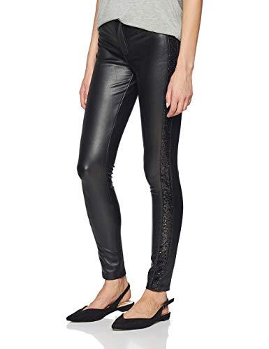 ONLY Damen onlMARA EMB. Faux Leather Pants OTW Hose, Schwarz (Black Black), W31(Herstellergröße: 40)