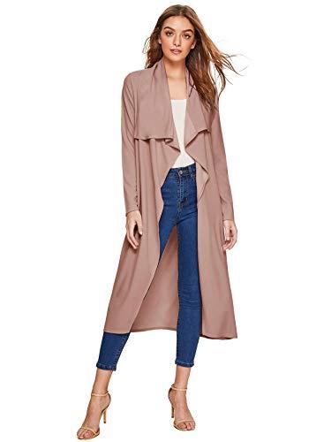 Verdusa Women's Casual Long Sleeve Lapel Outwear Duster Coat Cardigan Dusty Rose S