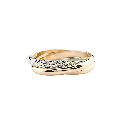 [アトラス]Atrus リング メンズ ハワイアンジュエリー pt900 18金 ピンクゴールドk18 プラチナ 3連リング 甲丸 指輪 ピンキーリング 11号