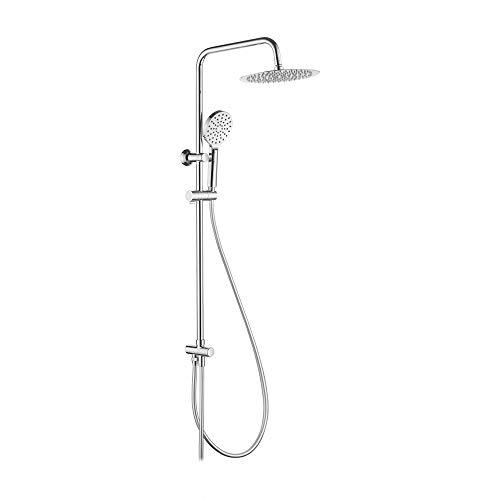 Ibergrif M20706, colonna per rubinetto, sistema inverter, tubo, barra per doccia regolabile e supporto, cromo, argento