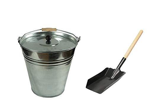 Zinken emmer asemmer met deksel, verschillende maten 15 liter met schep.