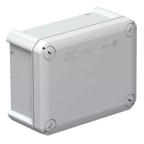 OBO Bettermann 2007255 verdeeldoos T 100, met kegel, polypropyleen, lichtgrijs, 136 mm x 102 mm x 57 mm binnen