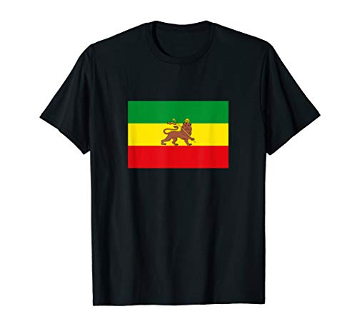 Altes Äthiopien Flagge Rastas Löwe Juda Rastafari Flaggen T-Shirt