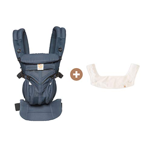 Omni 360 Cool Air Mesh All-Position Baby Carrier (Midnight Blue) and Protective Drool Bib (Natural) Bundle