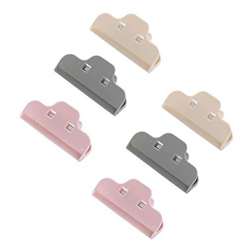 シールクリップ、オフィス、フードバッグ、長さ10cm(ピンク、ベージュ、グレー)用の6個のフードシールクリッププラスチックシーリングクリップ