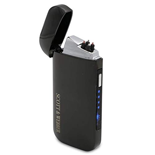 Scott & Webber® - Lichtbogen Feuerzeug elektrisch - USB aufladbar mit Batterieanzeige - Metall-Gehäuse schwarz - Flammenlos mit Doppel-Lichtbogen