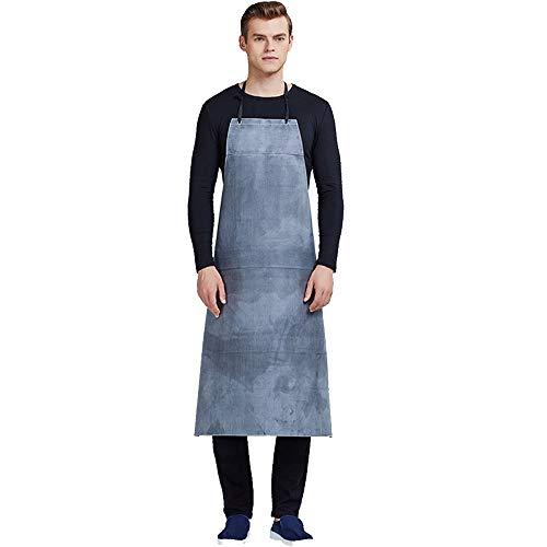 Kinandpri waterdichte schort, voor heren, duurzaam, van rubber, werkschort, voor vaatwasser Fabbrica Butcher, 105 x 75 cm, zwart grijs
