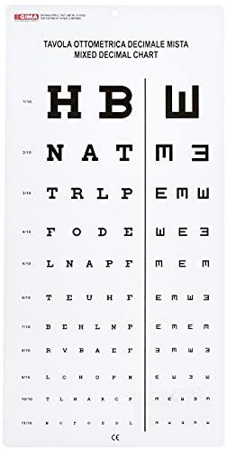 Gima - Gemischte Dezimale Sehtafel, gemischte dezimale und E-Haken-Sehtafel, Größe 28 X 56 cm, Abstand 3 m