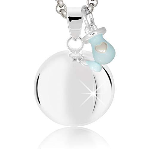 MAMIJUX® Llamador de ángeles con Chupete Celeste con Cadena de Acero 110cm