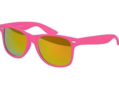 Balinco Hochwertige Nerd Sonnenbrille Rubber im Retro Stil Vintage Unisex Brille mit Federscharnier - 96 verschiedene Farben/Modelle wählbar (Pink - Rot/Orange verspiegelt)