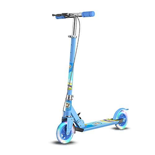 OLYSPM Patinetes para niños,Patinete 2 Ruedas Plegable con LED Luces,Scooter con Freno Mano y Freno Posterior Altura Ajustable,para Niñas de 3-12 Años(Azul)
