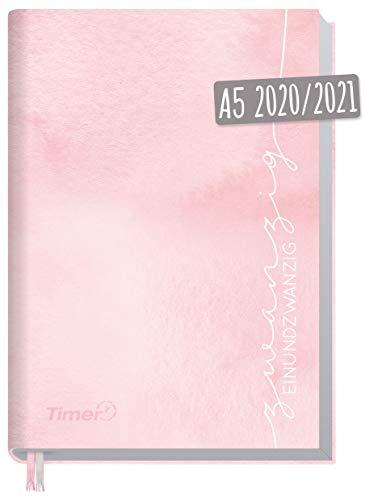 Chäff-Timer Classic A5 Kalender 2020/2021 [Rosa Aquarell] Terminplaner 18 Monate: Juli 2020 bis Dez. 2021 | Wochenkalender, Organizer, Terminkalender mit Wochenplaner - nachhaltig & klimaneutral