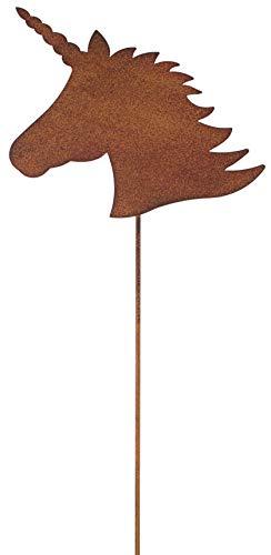 Metall Stab Einhorn Rost Stecken Gras Rasenstecker Blumenstecker Stecker Gartendekoration Beetstecker Tierfigur Gartenstecker Geschenk Rasen Garten Balkon Teich Deko Blumenbeet Frühling Sommer H60cm