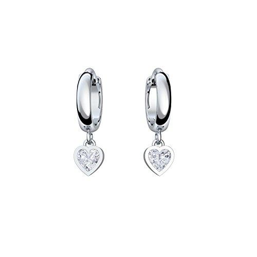 Creolen Herz Herzform: Geschenk Freundin in Silber 925 inkl. Luxusetui mit Gravur