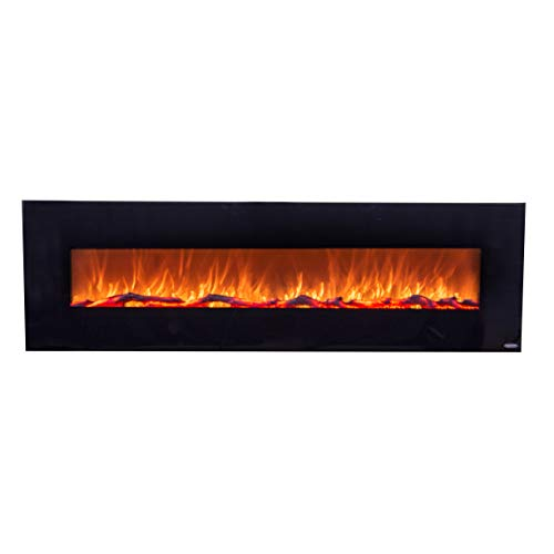 Touchstone 80005 - Onyx Electric Fireplace - (Black) - 72 Inch Wide - On-Wall Hanging - Log & Crystal Included - 5 Flame Settings - Realistic Flame - 1500/750W Timer & Remote
