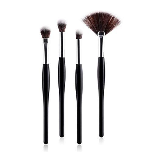 JFFFFWI Pinceaux de Fard à paupières Pinceau de Maquillage Ensemble Manche Noir Tube d'argent Brosse Pinceau Fard à paupières Outil de Maquillage des Yeux (Lot de 4) (Couleur: Noir)