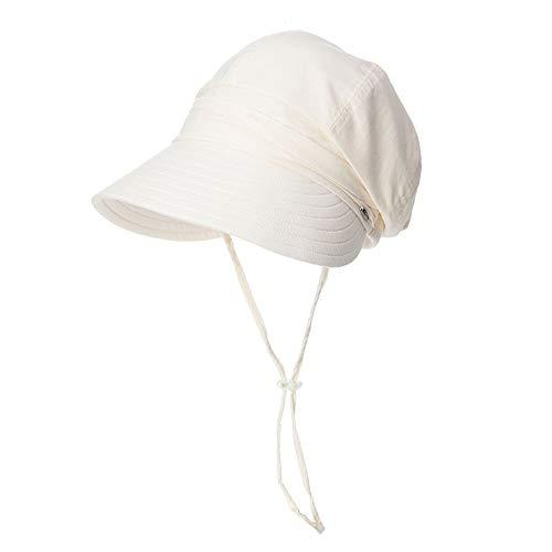 Xiao Mi Guo Ji- Sonnenschutzkappe - Mode Damen Sonnenhut einfache Damen plissiert Outdoor UV-Visier lässig Strand atmungsaktiv Hut Moderner Sonnenhut (Farbe : Beige)