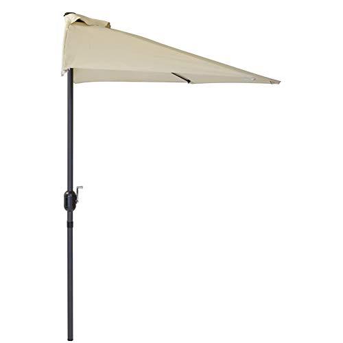 WANSE 2,7 m halber Sonnenschirm Außenterrasse mit Sockel, Sonnenschirm Regenschirm Polyester Markise Halbrunder Regenschirm Cremeweiß für Gartenterrasse im Freien