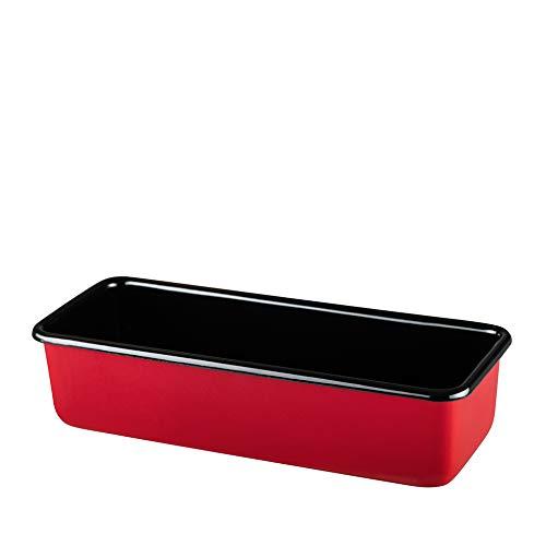 Riess, 0638-020, Königskuchenform, CLASSIC - COLOR ROT, 30 x 10 cm, Höhe 7,8 cm, Inhalt 1,7 Liter, Emaille, rot/schwarz
