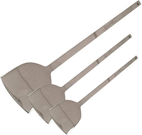 IndiaBigShop Stainless Steel Turner Wok Spatula Heat-Resistant Kitchen Utensil for Cooking Flipping With Long Handle Cooking Wok Spatula For Home/Kitchen/restaurant - Silver, (14.5', 14', 12')