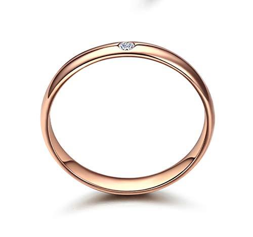 KnSam Bague Femme Fine Diamant Brillant Classique 2.8MM, Or Rose 18 Carats Élégance Cadeau Noël