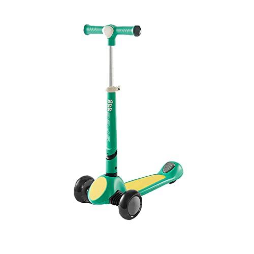 Scooter plegable de 3 ruedas con manillar ajustable en altura, plataforma antideslizante y ruedas de PU intermitentes, un scooter para niños y niños pequeños, adecuado para niños de 3 a 12 años,Verde