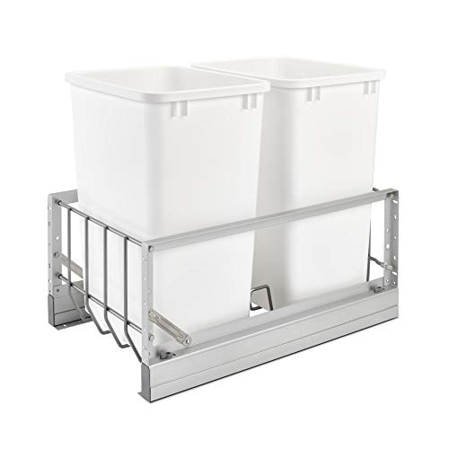 Rev-A-Shelf 5349-18DM-2 Double 35 Quart Kitchen Base Cabinet Pull Out Waste Containers with Soft-Close, Silver/White