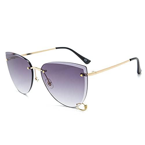 Gafas De Sol Sin Montura Vintage para Mujer, Gafas De Sol con Corte De Diamante para Hombre, Uv400 Al Aire Libre, con Pequeñas Pantallas De Campana, Greylens