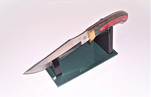 Large Fixed Blade Knife Display Stand - Gloss Hunter Green Melamine Base, Gloss
