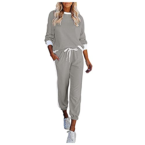 Briskorry Tuta sportiva da donna, set di 2 pezzi, colore bianco, stile college, da corsa, per sport, grigio., M