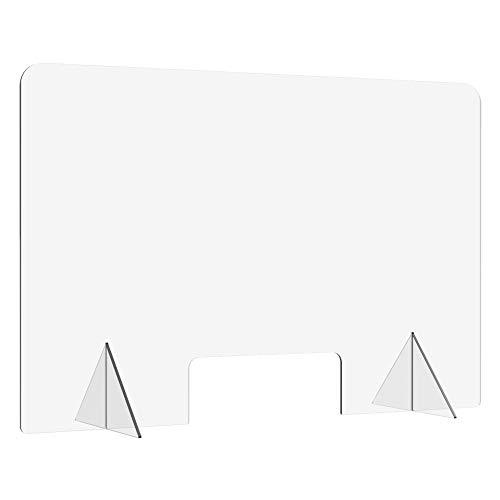 Plexiglass barrier shield, Sneeze Guard for Counter and Desk - Freestanding Clear Acrylic Shield, Pass-Through Transaction Window (24'' X 16'' CUTOUT 8' X 3')