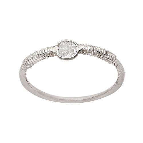 Anillo apilable minúsculo de Polki de diamante natural de 0.20 CTW, anillo hecho a mano, plata de ley 925 (13)