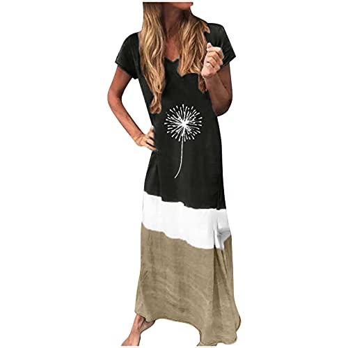 pamkyaemi Vestido de verano para mujer, largo, maxivestido, manga corta, informal, bohemio, moderno, estampado, vestido de playa, elegante, para fiestas, de noche, tiempo libre Negro3 S