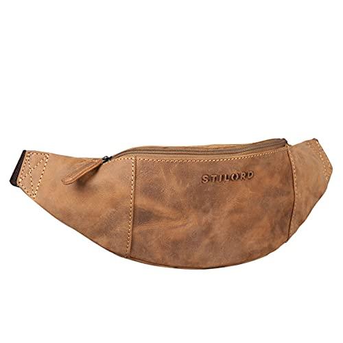 STILORD 'Shawn' Riñonera Cuero Grande Vintage para Festivales Deporte Bolso Cintura Bum Bag auténtica Piel, Color:Used Look - marrón