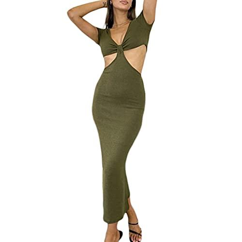 ChouZZ Vestido sexy Y2K para mujer, con cuello halter, vestido sin espalda, para fiesta, playa, sin mangas, para mujer