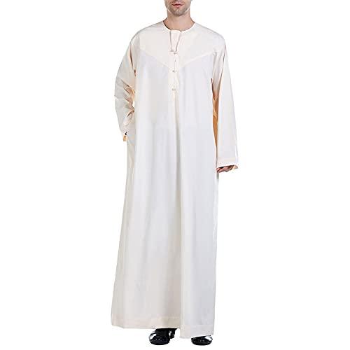 Vestido de Dubai de Oriente Medio Bata de Hombre Musulmán Camisa de Manga Larga Árabe Bata Camisón Albornoz Camisas de Dormir para,Beige,3XL