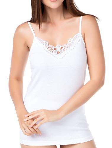 2 Stück Damen Träger Top Unterhemd Spaghettiträger aus 100% Gekämmte Baumwolle (Weiß mit Spitze, 48-50)