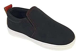Skippy Contrast Sole Round Toe Pull-on Shoes for Boys - Black, 34 EU