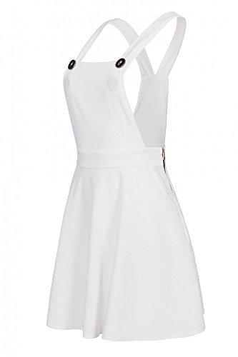 Laeticia Dreams - Vestito scamiciato da donna, gonna a salopette, effetto jeans, XS S M L XL bianco 44