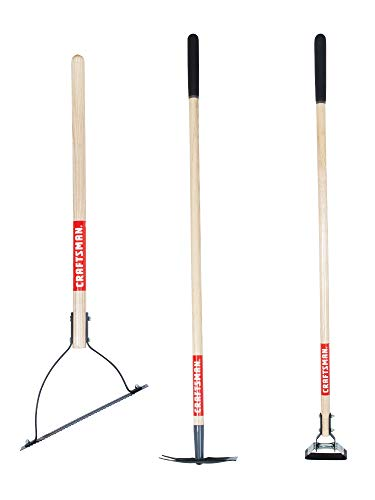 CRAFTSMAN CMXMKIT0040 3-Piece Long Wood Handle Weeding Tool Set with Weeding Hoe, 2-Prong Hoe, and Grass Weed Cutter