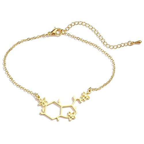 HMANE Pulseras de moléculas para Mujeres, Pulsera de moléculas de hormonas, Pulsera de química de Acero Inoxidable, joyería de Enfermera