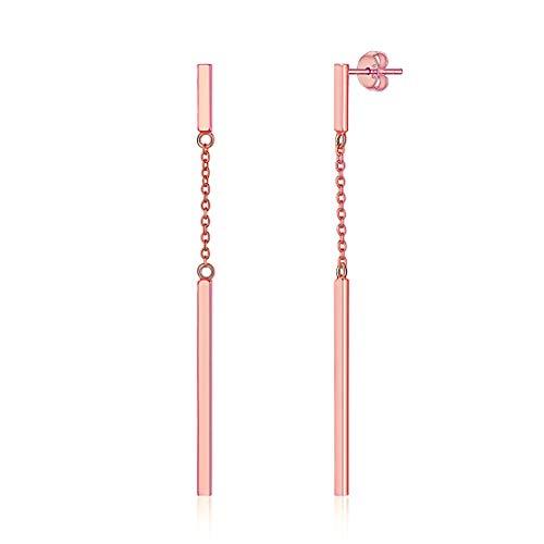 Pendientes Hipoalergénicos para Muchachas Niñas Plata de Ley 925 Chapado en Oro Rosa Joyería Simple de Regalo Maravilloso a Madre Novias Amigas Boho