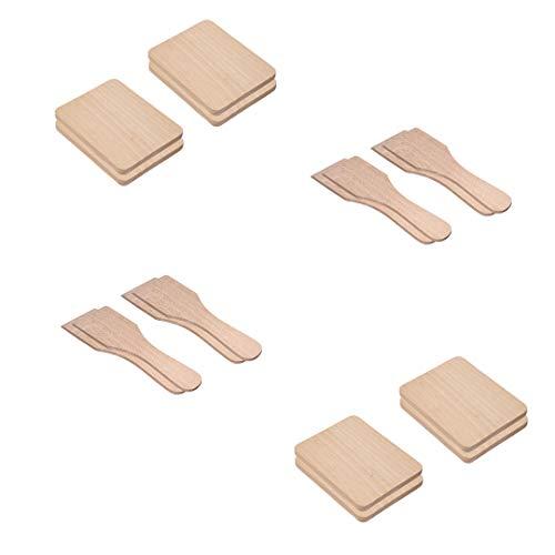 Timeleos Racletteschieber Raclettespachtel Racletteschaber und Untersetzer Brettchen aus Holz für Raclette Pfännchen als Zubehör (8 Untersetzer & 8 Schieber, 8)