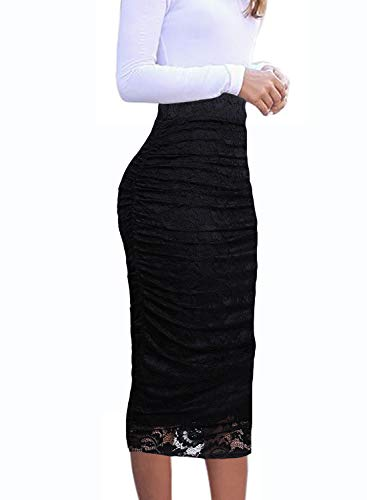 VFSHOW Womens Black Floral Lace Ruched Ruffle High Waist Casual Wok Office Party Pencil Midi Mid-Calf Skirt 2381 BLK XXL